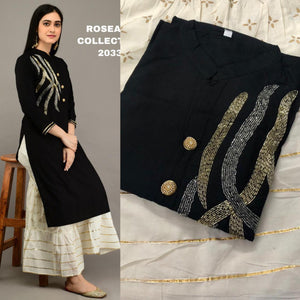 Black Embroidered Kurtis Sharara Suits Salwar Indian Dress