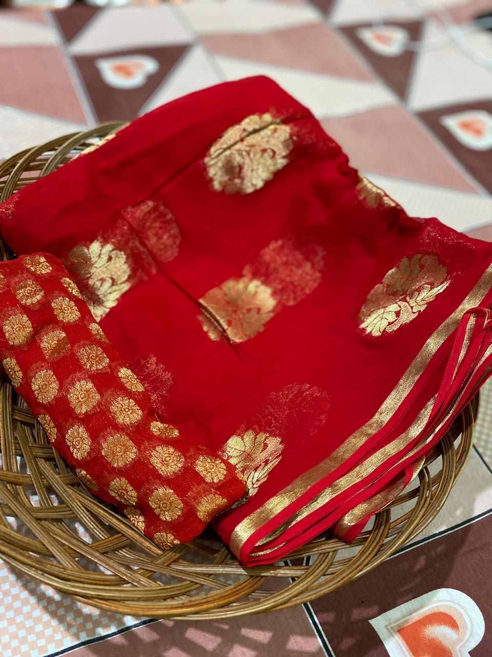 Red Banarasi Georgette New Designs Party Saree Online Shopping