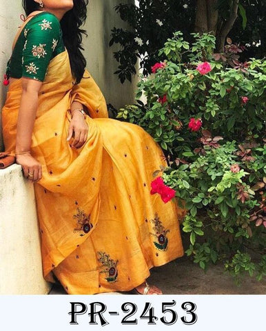 Yellow Chanderi Saree Shop Online Sarees India