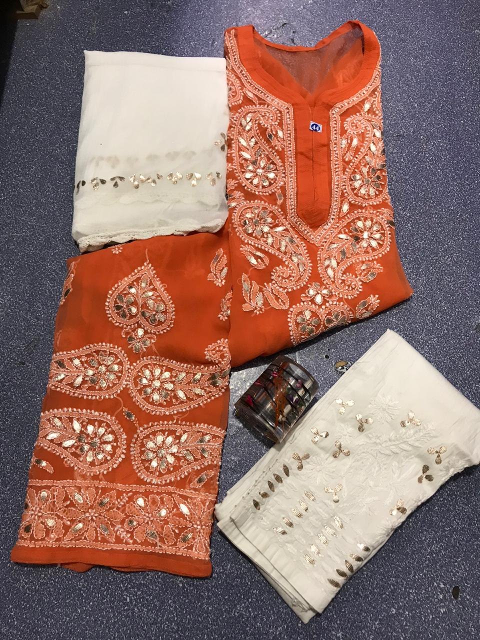 Orange Chikankari Kurti 3 pc set Georgette Gota patti Combo