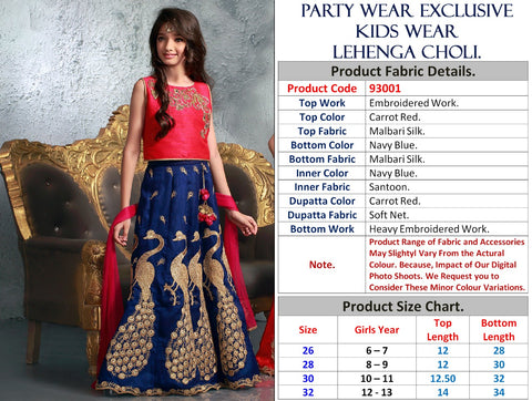 Navy Blue  Online Shopping Kids Wear Lehenga Blouse