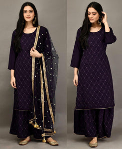 New Purple 3 Pc Kurti Pallazo with Embroidery work and Sequins work Dupatta