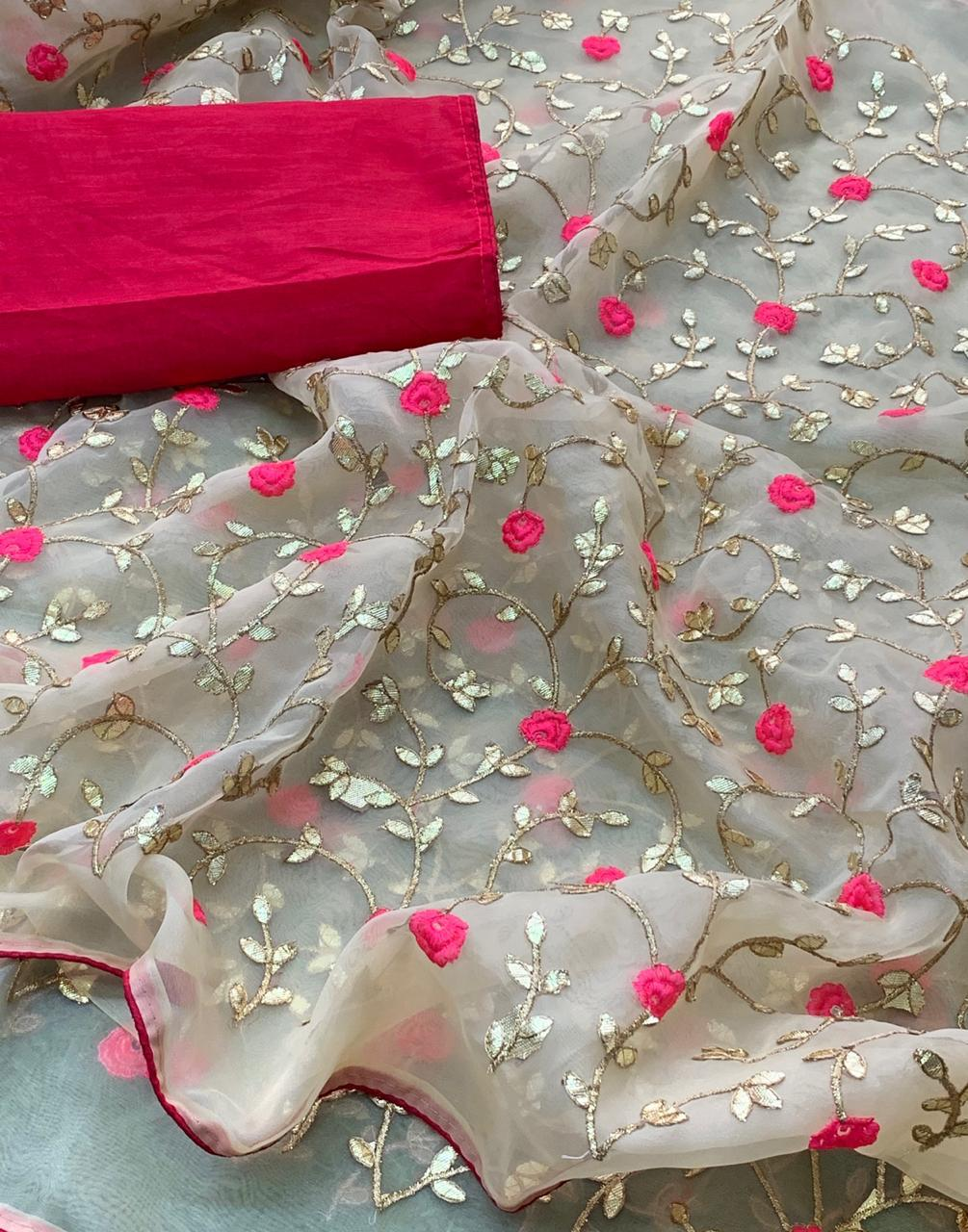 Cream Pure Organza Online Purchase Of Sarees In India
