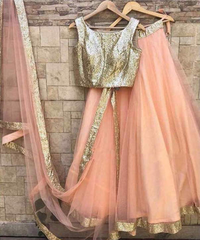 Peach And Golden Bollywood Lehenga Choli Online