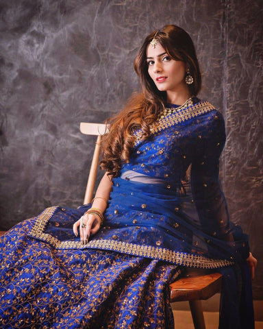 Blue Latest Designer Cholis Lehengas