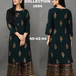 Dark Green Foil Print Latest Kurti Palazzo Suits Online Shopping