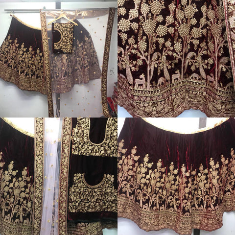 Rose Wood Velvet Bollywood Wedding Lehengas