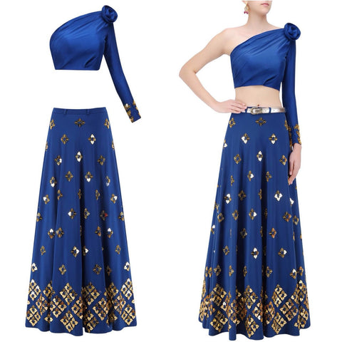 Blue One Shoulder Tops Bollywood Designer Lehengas ,Indian Dresses - 1