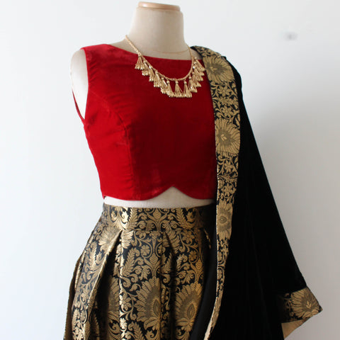 Black Brocade With Red Crop Top Indian Lehnga ,Indian Dresses - 1