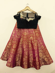 Pure Brocade Red Indian Designer Lehenga ,Indian Dresses - 1