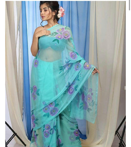 Blue and Purple Digital Printed Latest Organza Saree and Blouse Set