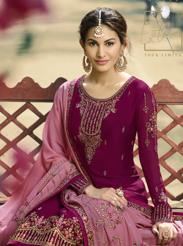Magenta Embroidered Pakistani Sharara Suit Online Shopping