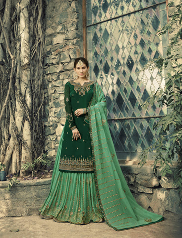Dark Green Embroidered Sharara Pant Suit Salwar Kameez Pattern