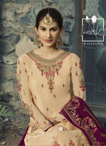 Beige Georgette Embroidered Sharara Suit Salwar Kameez On Line