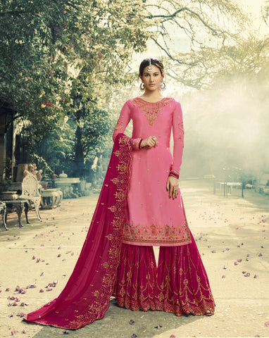 Light Pink Georgette Embroidered Sharara Pant Suit Salwar Designs Online