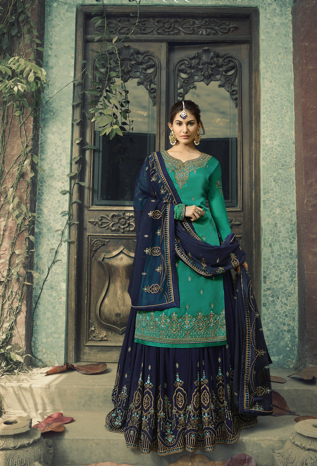 Sea Green Embroidered Sharara Suit Shopping Salwar Kameez Online
