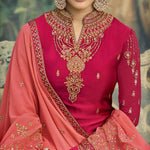 Pink Embroidered Sharara Women Salwar Suit For Party Wear