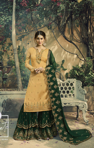 Yellow Embroidered Party Wear Sharara Suit Salwar Trousers