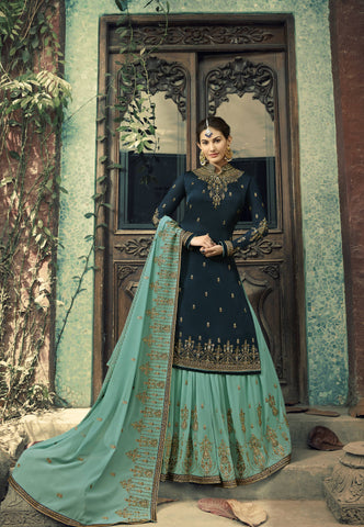 Dark Teal Embroidered Party Wear Sharara Ladies Salwar Kameez