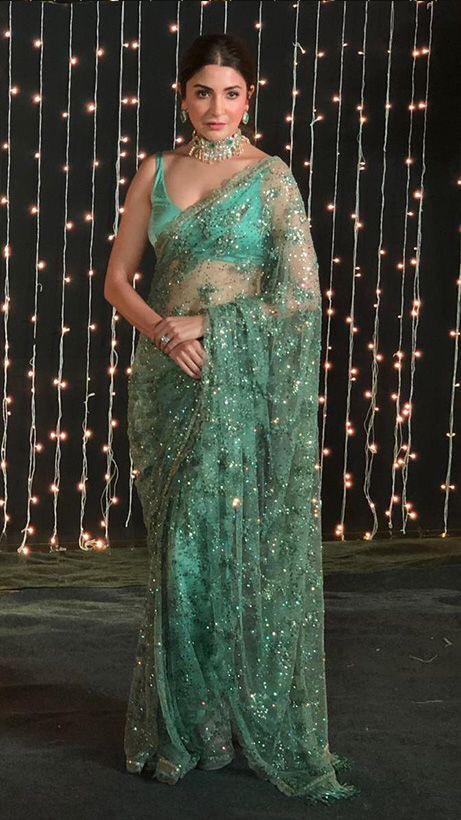 Anushka Sea Green Net Sequins Fancy Sarees Online Shopping