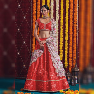Red Embellished New Indian Lehenga Designs Online Shopping