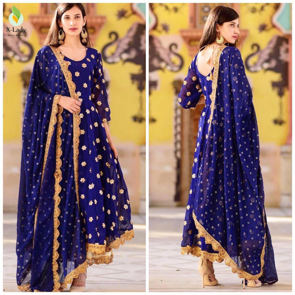 Blue Georgette Latest Fashion Kurti Palazzo Suits Online Buy