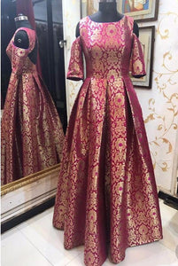 Pink Brocade Cold Shoulder Stylish Indo Western Gown
