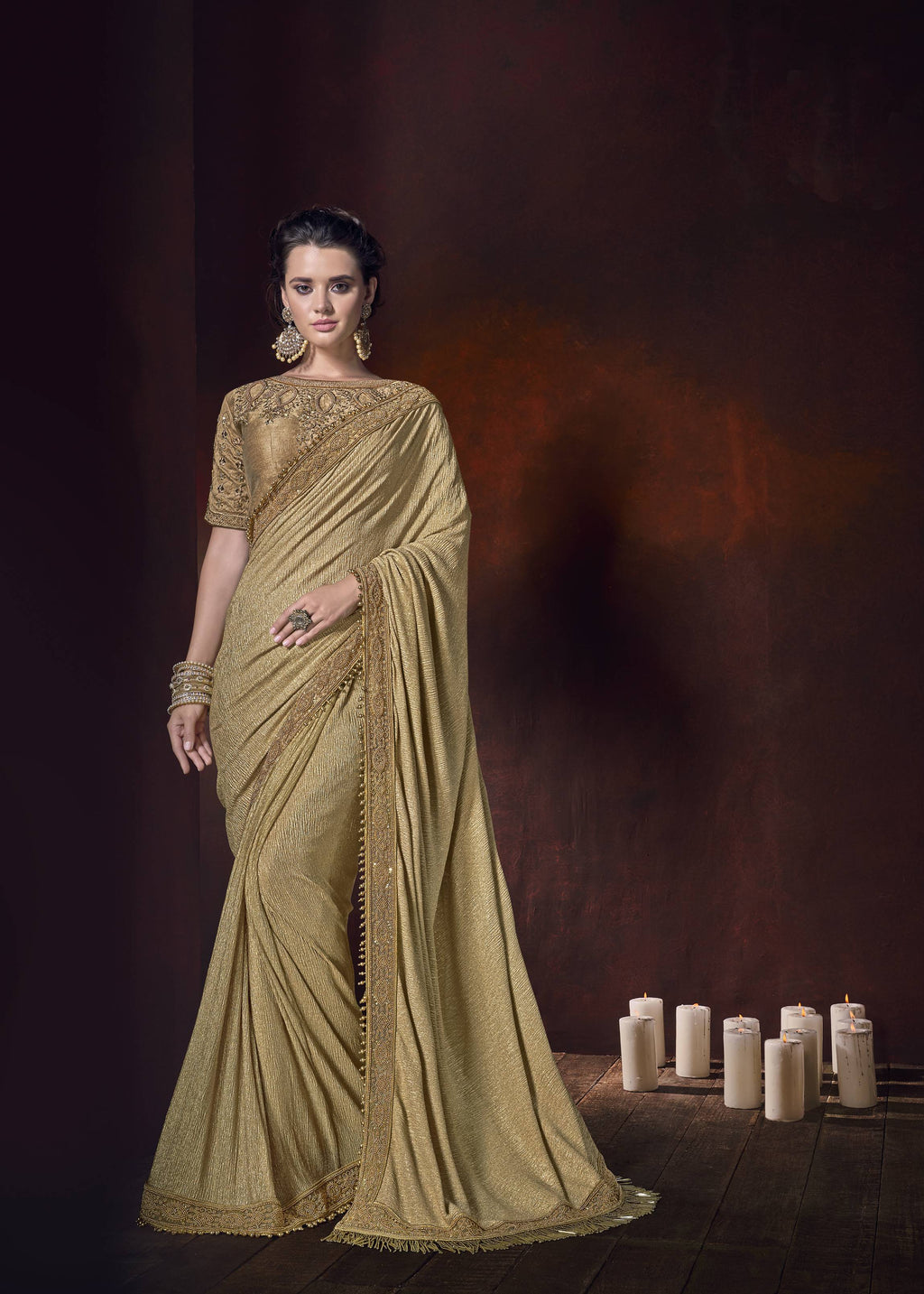 Golden Lycra Embroidered Party Wear Saree Latest Fashion