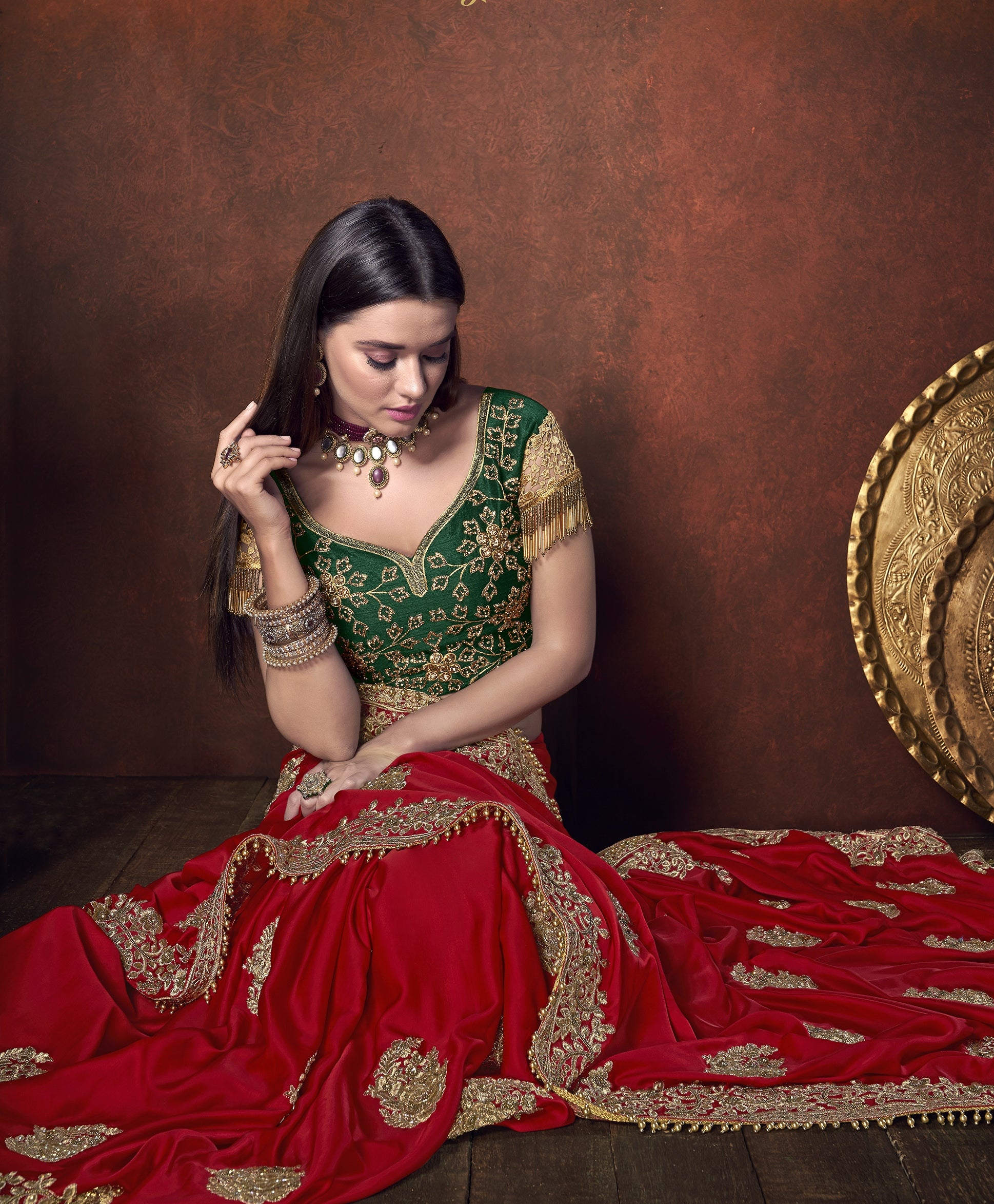 Red Satin Embroidered Wedding Sarees Online Shopping With Price