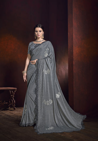 Grey Lycra Embroidered Party Wear Beautiful Indian Saree Online