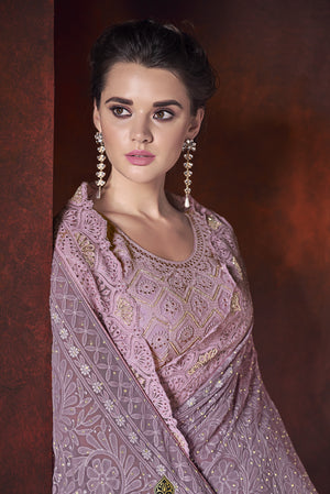 Lilac Embroidered Half Saree Materials Online Shopping