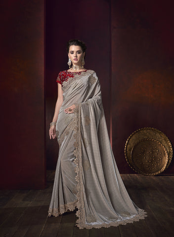 Grey Lycra Shimmer Embroidered Party Wear Saree Indian Dress