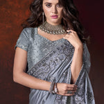Grey Satin Embroidered Wedding Designer Sarees Online Shopping