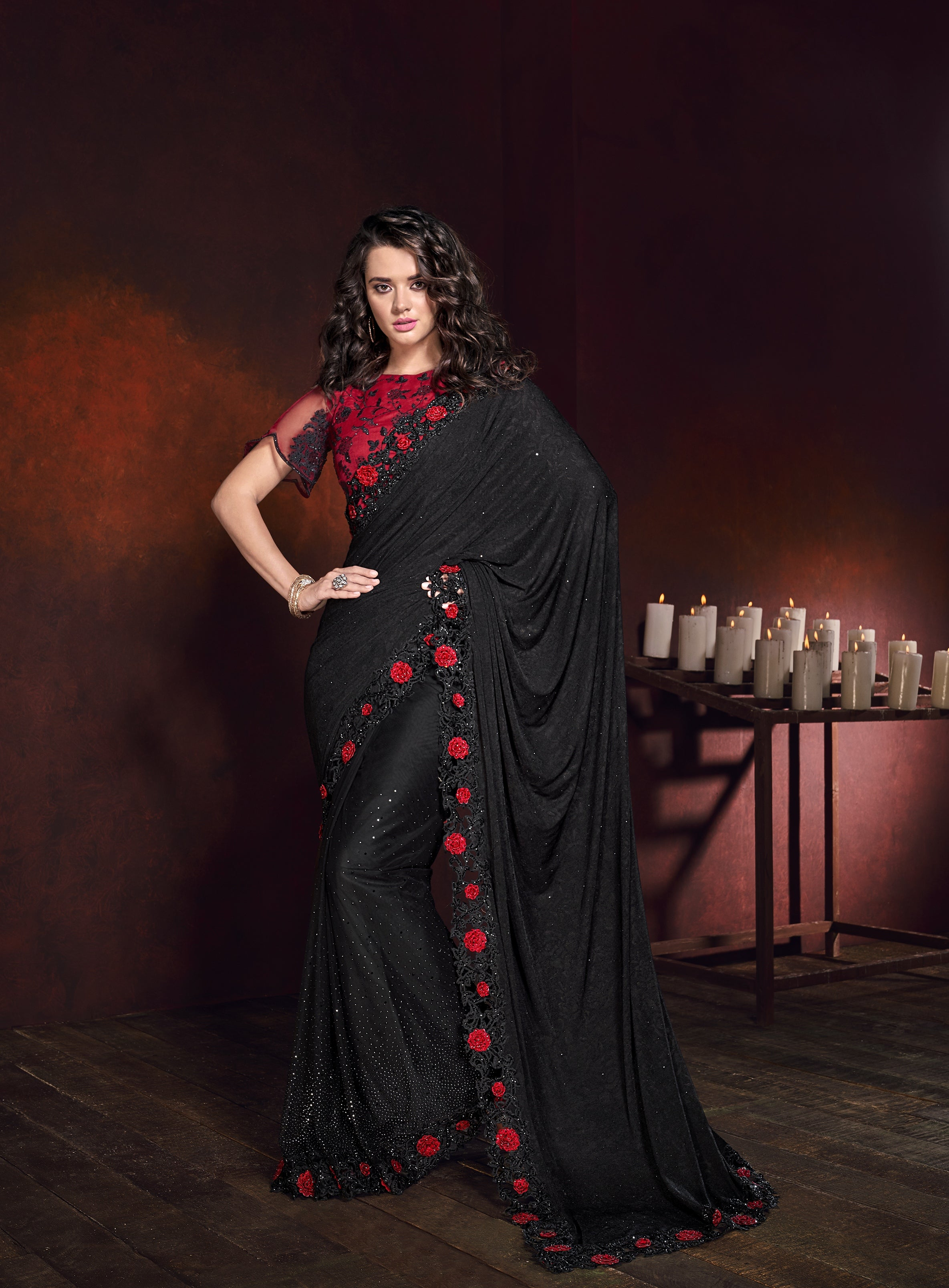 Black Lycra Jacquard Designer Party Wear Sarees Online Shopping