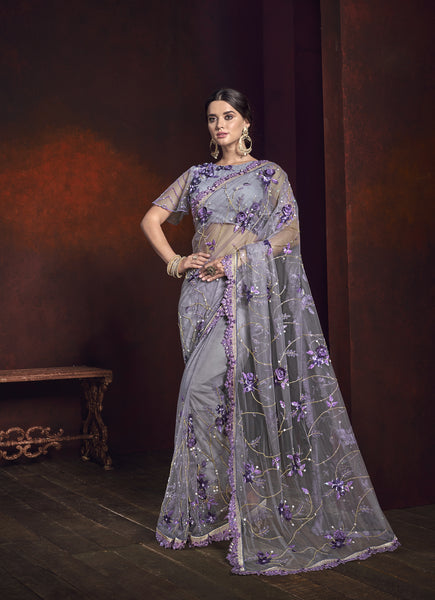 Lilac Embroidered Net Wedding Sarees Online Shopping In India