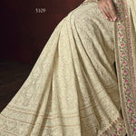 Cream Embroidered Georgette Party Wear Indian Latest Sarees Collection