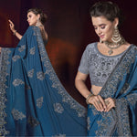 Teal Blue Satin Embroidered New Fashion Sarees In India