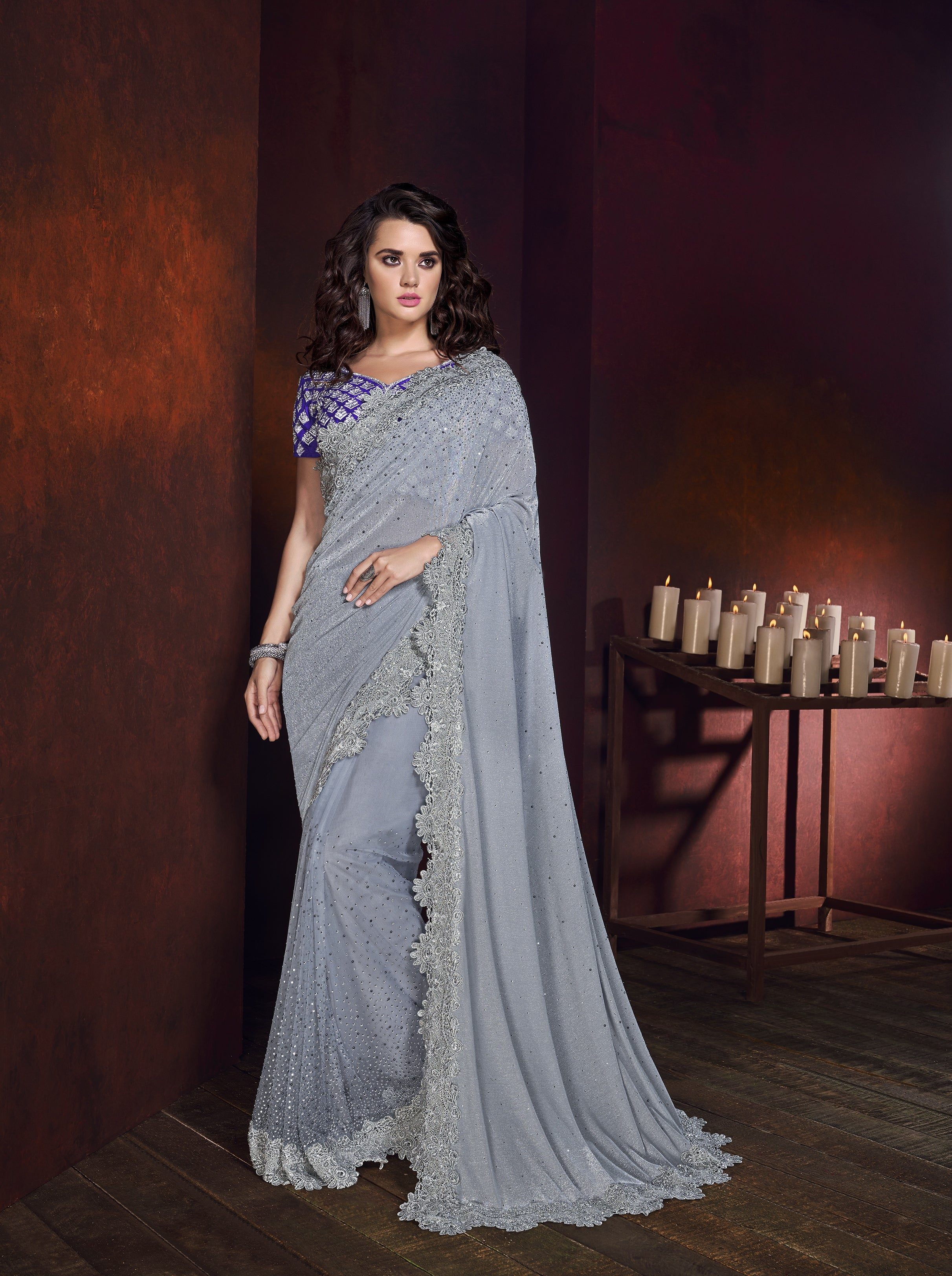 Light Grey Lycra Embroidered New Collection Of Sarees With Price