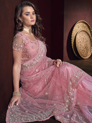 Embroidered Pink Net Wedding Saree Stylish Online Shopping India