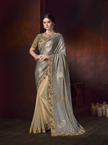 Grey And Beige Lycra Shimmer Latest Fashion Party Wear Sarees