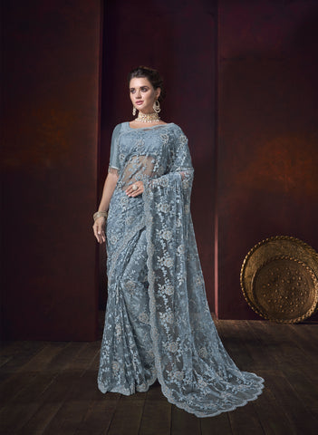 Bluish Grey Net Embroidered Beautiful Wedding Sarees In India