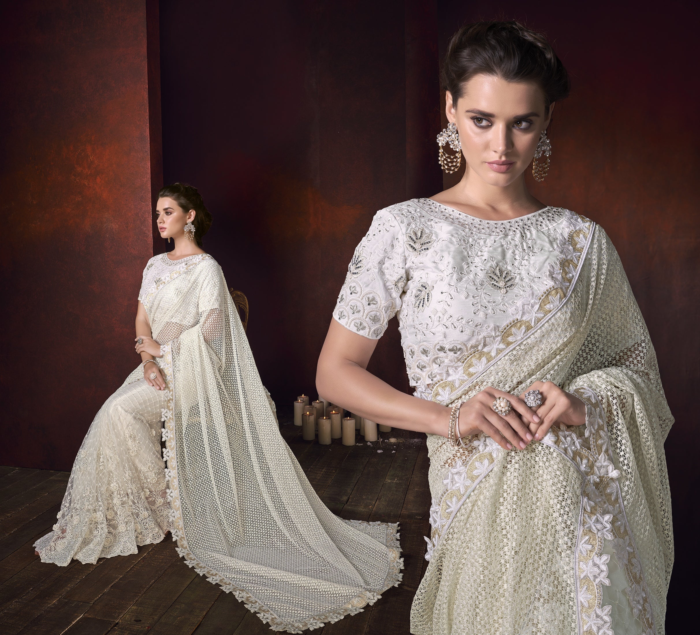Off White Net Jacquard Beautiful Designer Fashion Wedding Sarees