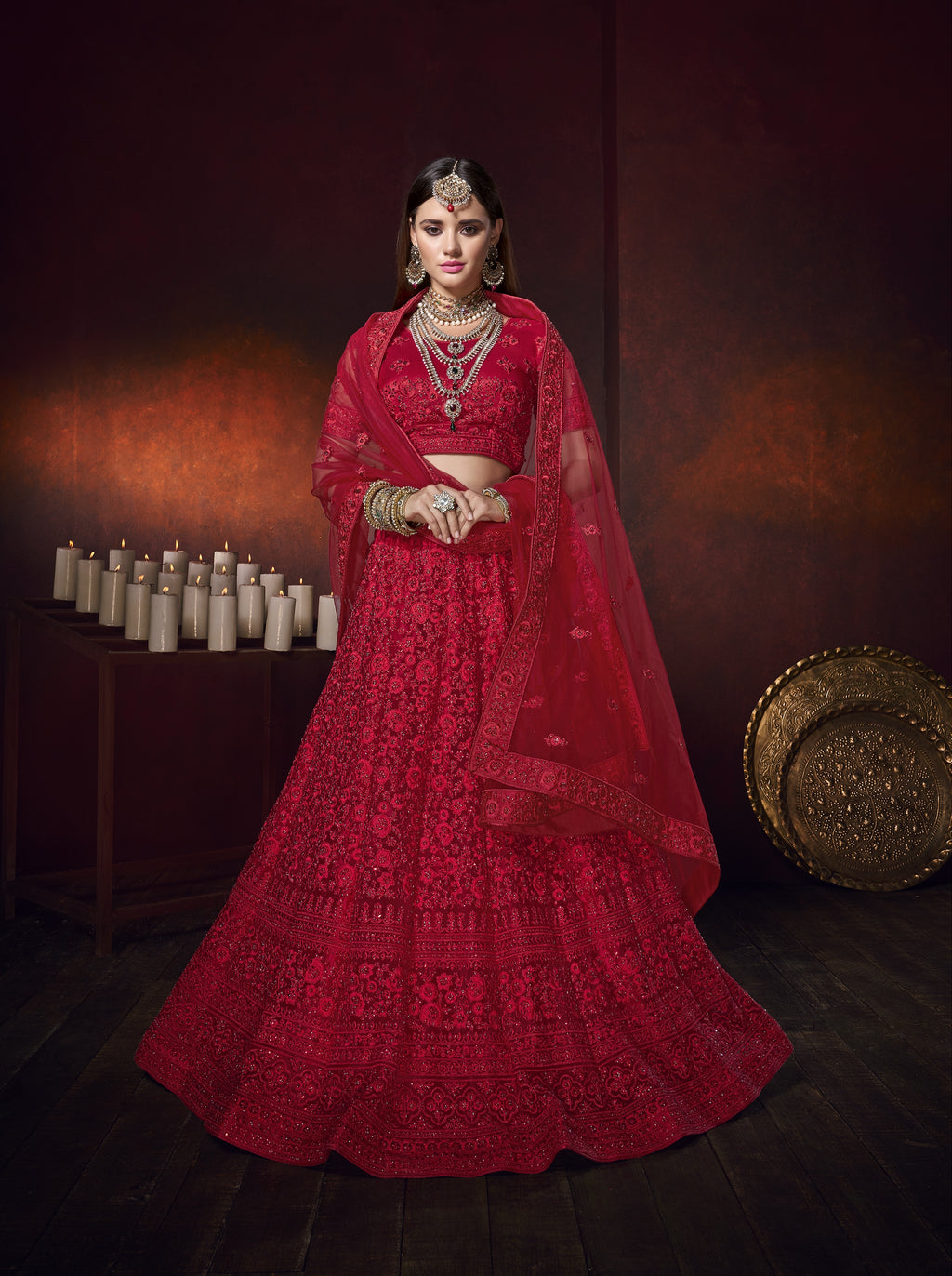 Red Net Embroidered Latest Lehenga Designs For Wedding With Price