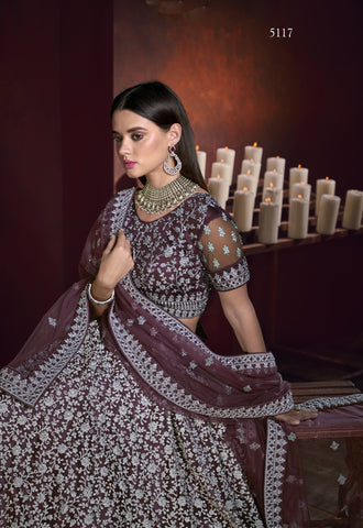 Wine Color Net Embroidered Wedding Lehenga Dress Online Shopping