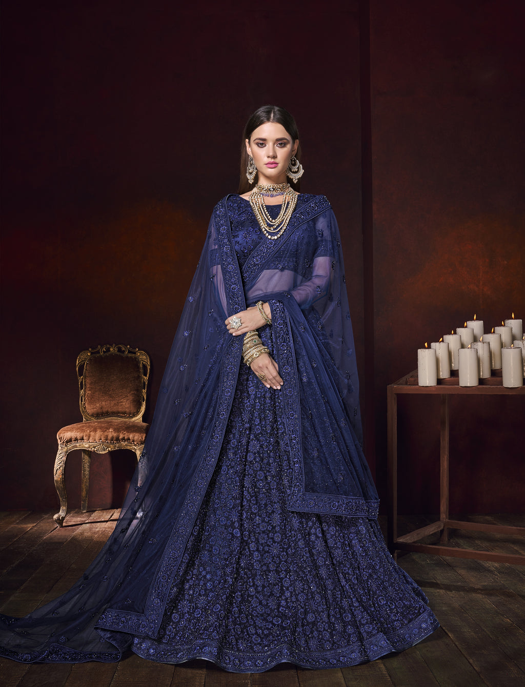 Navy Blue Net Embroidered Latest Lehenga Designs For Wedding With Price