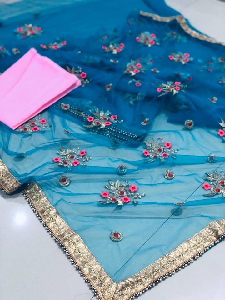 Blue Net Embroidery With Moti Lace Border Party Saree Online Shop