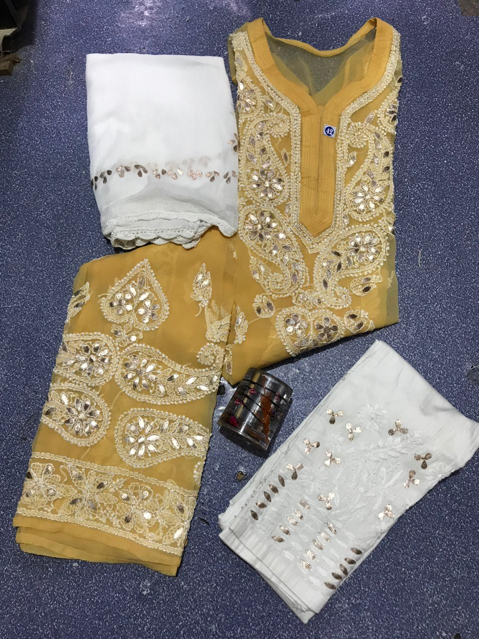 Mustard Yellow Chikankari Kurti 3 pc set Georgette Gota patti Combo