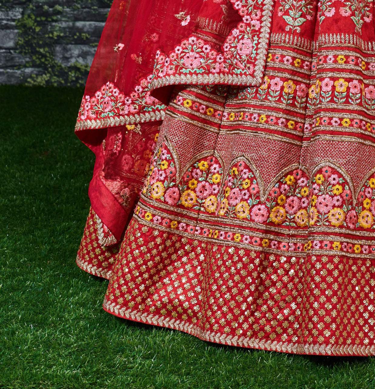 Red Silk Heavy Embroidered Lehenga Choli Designs For Wedding With Price