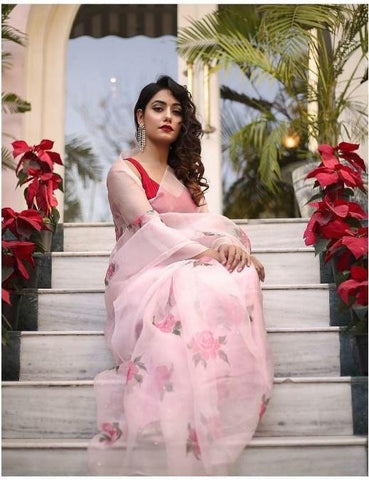 Baby Pink Floral Print Organza New Party Wear Saree Designs Online