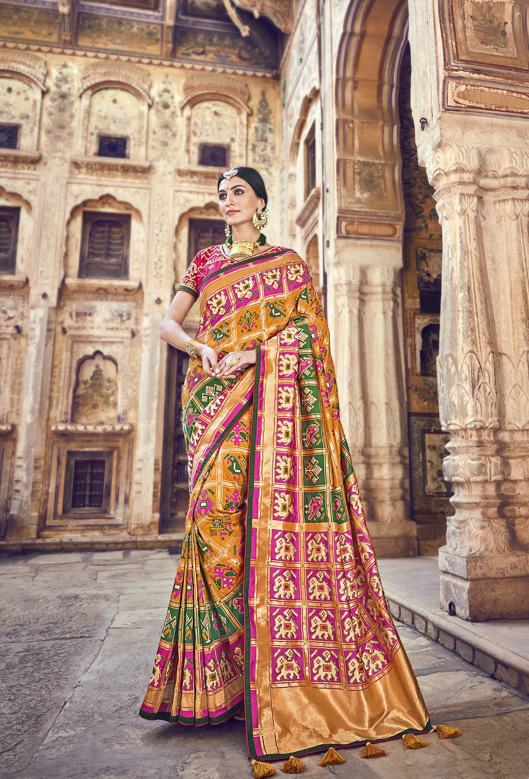 Mustard Banarasi Silk Indian Wedding Sarees Online Shopping